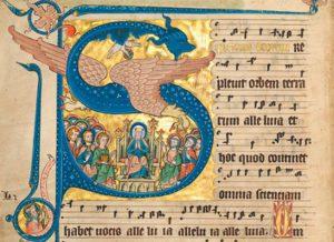 Codex Gisle: Pfingstantiphon Spiritus Domini replevit orbem terrarum (um 1300)